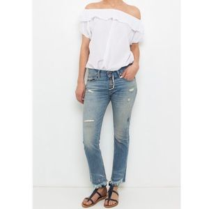 NSF NWOT Distressed Ankle Length Button Fly Jeans